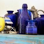 Dettaglio vintage della cucina blu